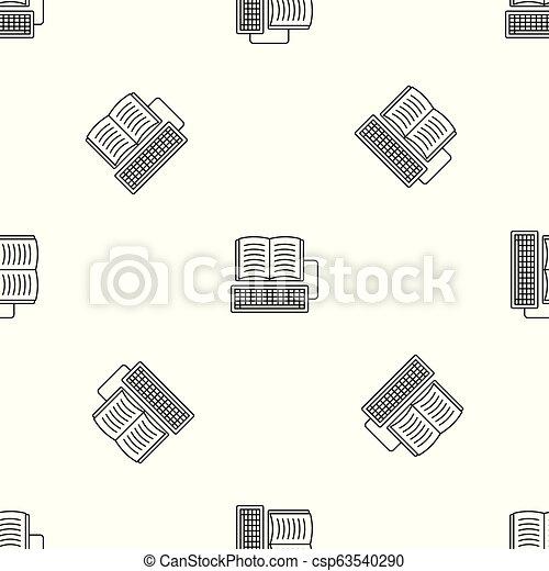 Book keyboard writing pattern seamless vector - csp63540290