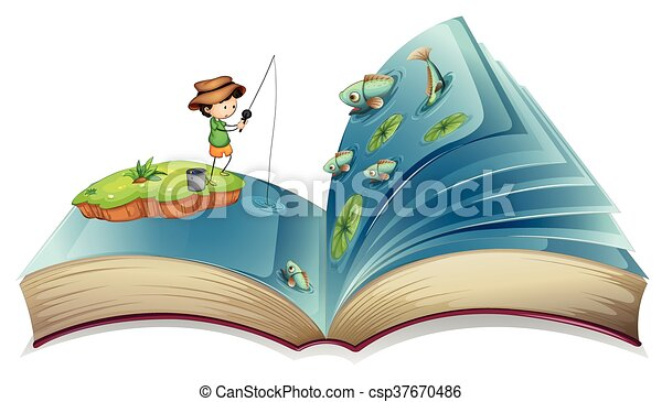 Book of boy fishing in the pond - csp37670486