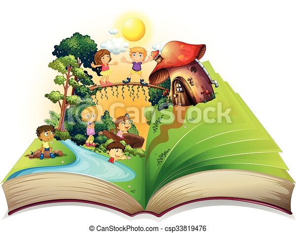 Book of children playing in the park - csp33819476