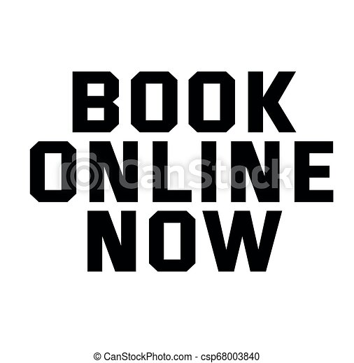 BOOK ONLINE NOW stamp on white - csp68003840
