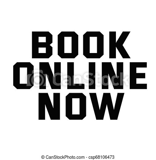 BOOK ONLINE NOW stamp on white - csp68106473