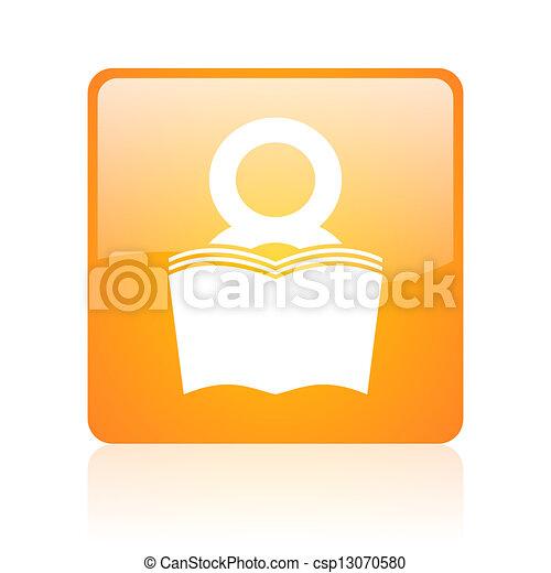 book orange square glossy web icon - csp13070580