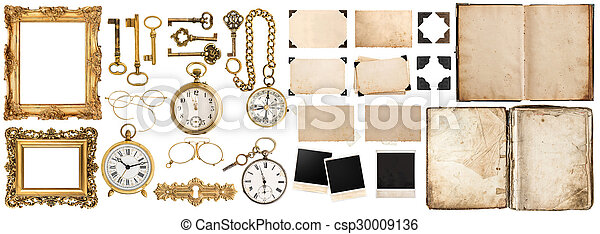 Book, photo frames with corner, golden accessories isolated on white - csp30009136