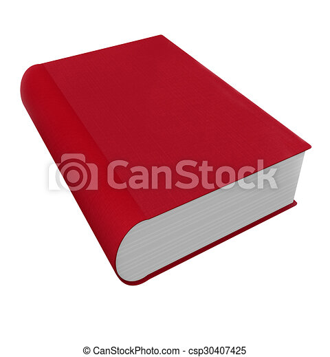 Book Red 3d Cover Novel Fiction Advice Help Manual  - csp30407425