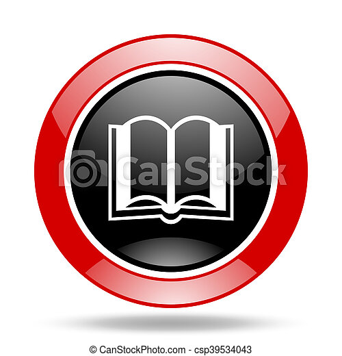 book red and black web glossy round icon - csp39534043