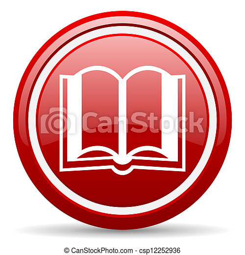 book red glossy icon on white background - csp12252936