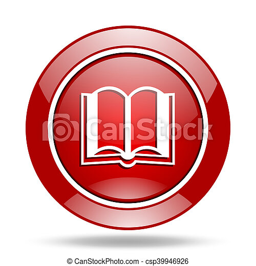 book red web glossy round icon - csp39946926