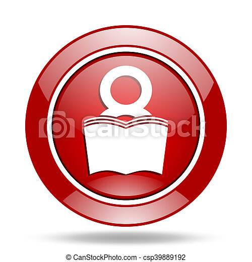 book red web glossy round icon - csp39889192