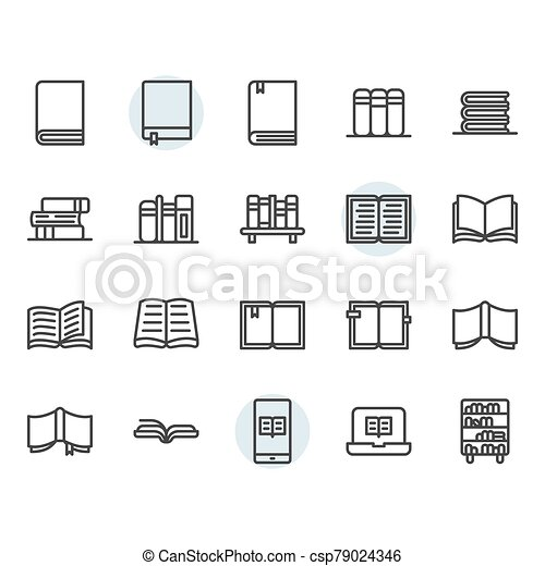 Book related icon and symbol set - csp79024346