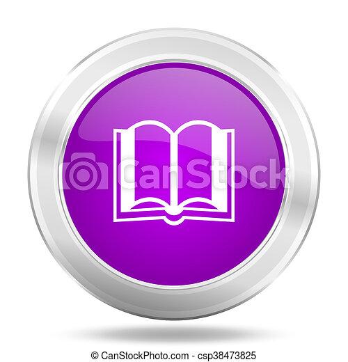 book round glossy pink silver metallic icon, modern design web element - csp38473825