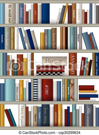 Book shelf. Bookstore indoor. - csp30299634