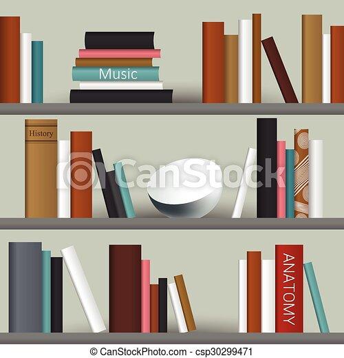 Book shelf. Bookstore indoor. - csp30299471