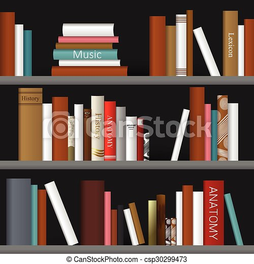 Book shelf. Bookstore indoor. - csp30299473
