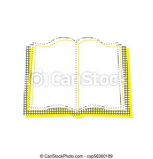Book sign. Vector. Yellow icon with square pattern duplicate at - csp56360189