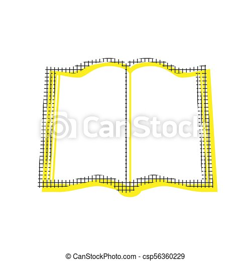 Book sign. Vector. Yellow icon with square pattern duplicate at - csp56360229