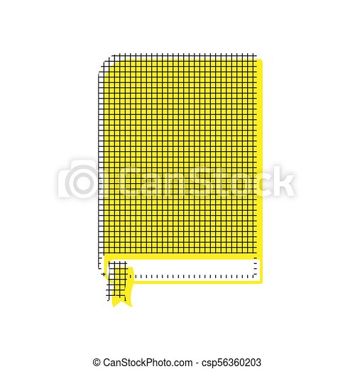 Book sign. Vector. Yellow icon with square pattern duplicate at - csp56360203