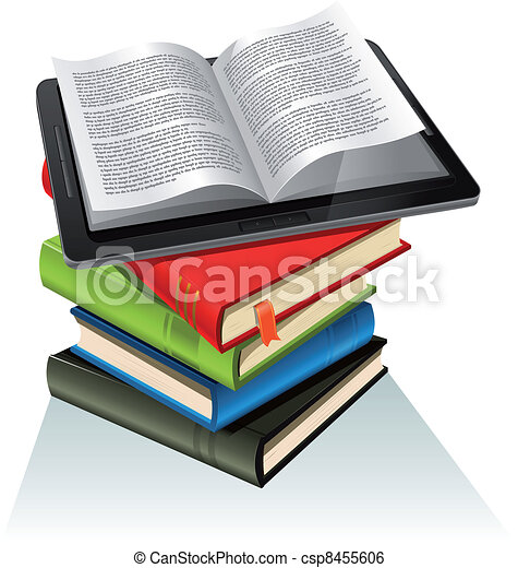 Book Stack And Tablet PC - csp8455606