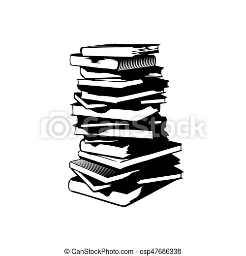 Book Stack In A Simple Style Black And White Illustration A Lot Of