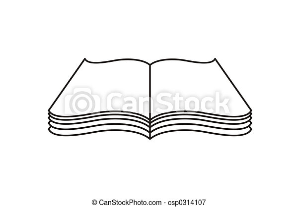 Open Book Line Drawing Book. Open book...