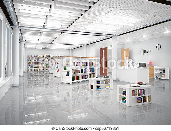 Book store interior. 3d illustration - csp56719351