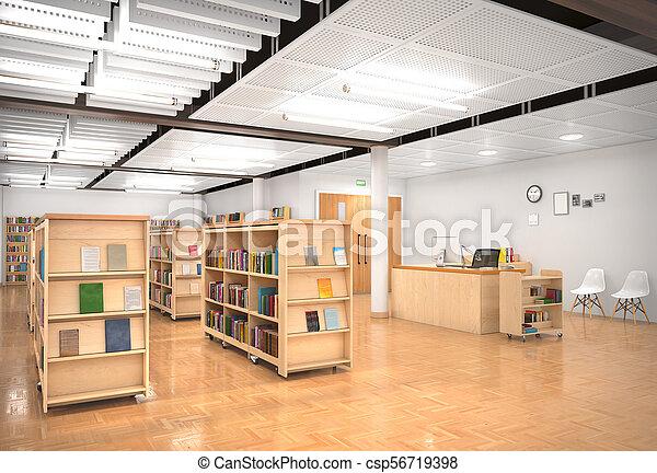 Book store interior. 3d illustration - csp56719398