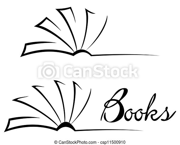 Open Book Line Drawing Book symbol. Bl...