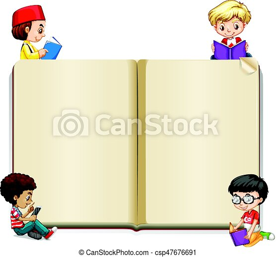 book template with kids reading vector - Kids Book Template