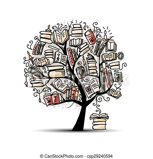 Book tree, sketch for your design - csp29240594