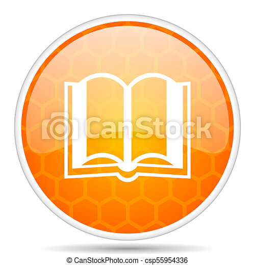 Book web icon. Round orange glossy internet button for webdesign. - csp55954336