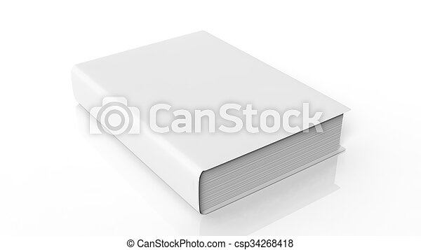 Book with blank hardcover, isolated on white background. - csp34268418