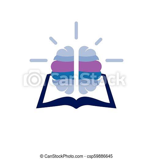 book with brain idea logo icon vector - csp59886645