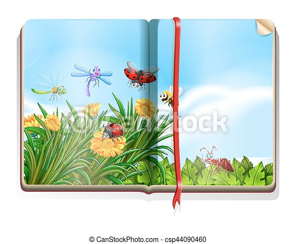 Book with garden scene full of insects and flowers - csp44090460