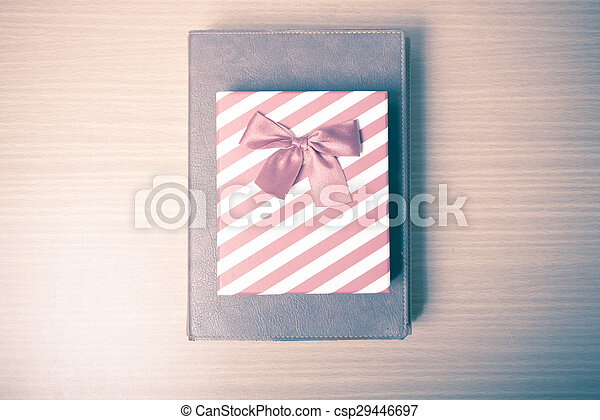 book with gift box vintage style - csp29446697