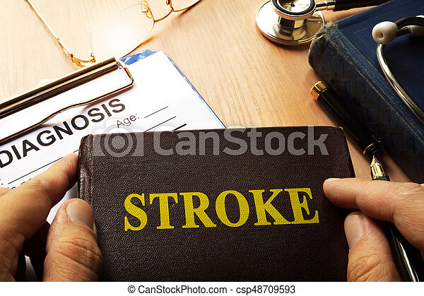 Book with name brain stroke disease. - csp48709593