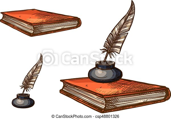 Book with old feather pen and inkwell sketch - csp48801326