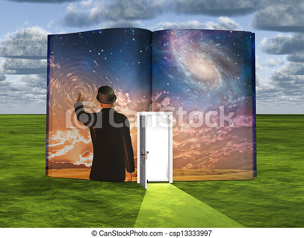 Book with science fiction scene and open doorway of light - csp13333997
