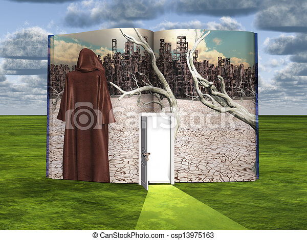 Book with science fiction scene and open doorway of light - csp13975163