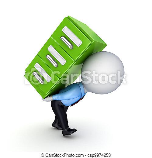 3d persona pequeña y estantería verde. - csp9974253