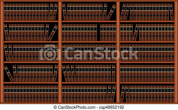 Bookcase With Books Library Is An Illustration Of A Background Of