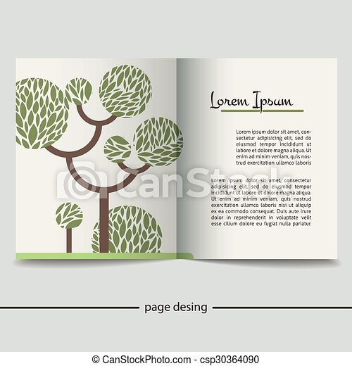 Booklet with a picture of a green tree - csp30364090