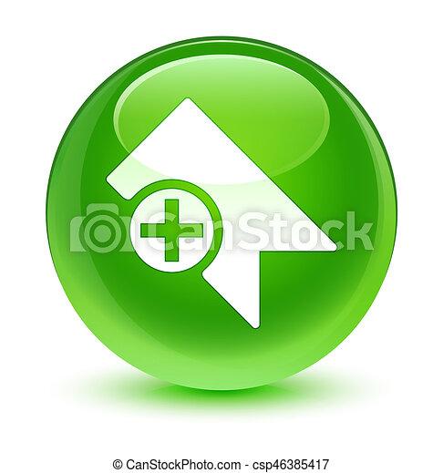Bookmark icon glassy green round button - csp46385417