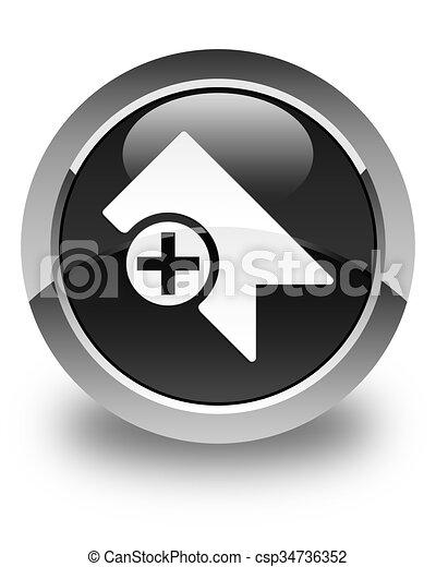 Bookmark icon glossy black round button - csp34736352