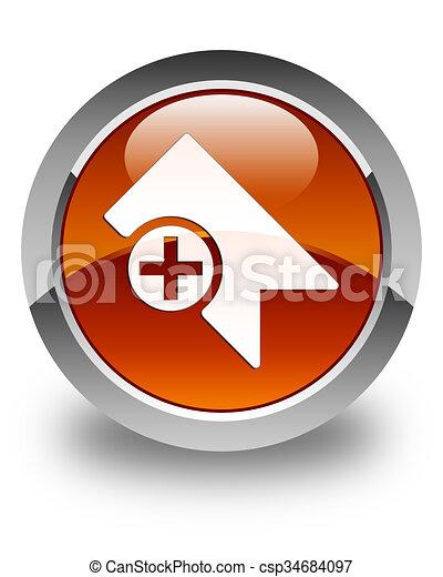 Bookmark icon glossy brown round button - csp34684097