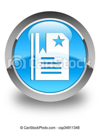Bookmark icon glossy cyan blue round button - csp34911348