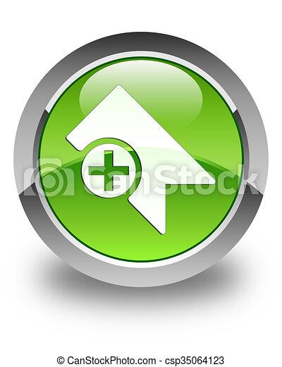 Bookmark icon glossy green round button - csp35064123