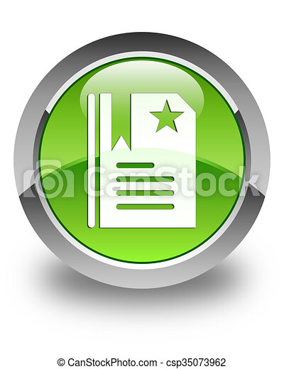 Bookmark icon glossy green round button 2 - csp35073962