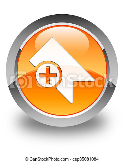Bookmark icon glossy orange round button - csp35081084