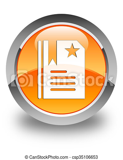 Bookmark icon glossy orange round button 2 - csp35106653