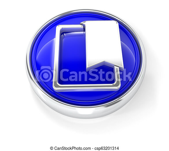 Bookmark icon on glossy blue round button - csp63201314