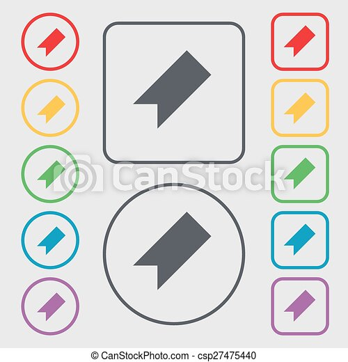 bookmark icon sign. symbol on the Round and square buttons with frame. Vector - csp27475440